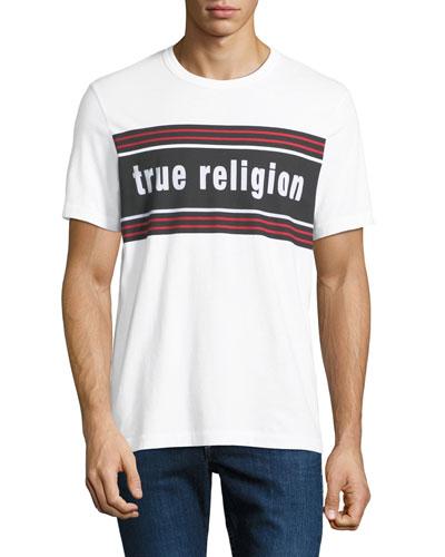 Men's Retro Logo-Stripe T-Shirt