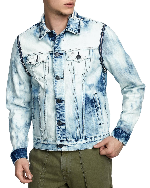 5e7622403cf True Religion Men s Danny Distressed Denim Jacket