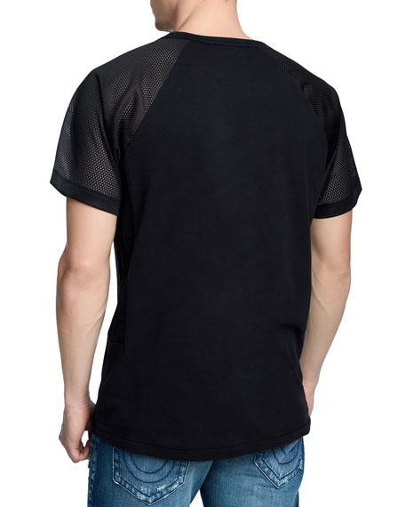 Men's Mesh-Sleeve Solid T-Shirt