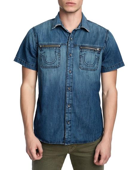 Men's Short-Sleeve Denim Novelty Shirt