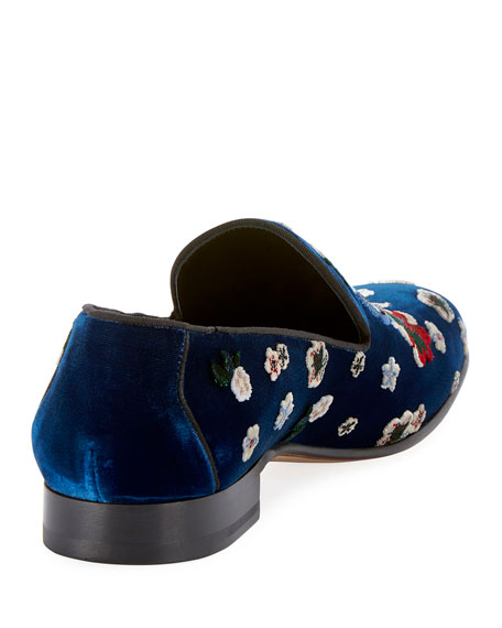 Men's Floral-Embroidered Velvet Formal Slippers