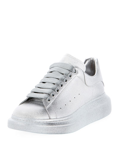 Men's Oversized Tonal Metallic Leather Sneakers