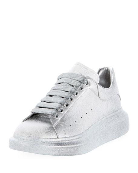 Men's Oversized Tonal Metallic Leather Sneakers
