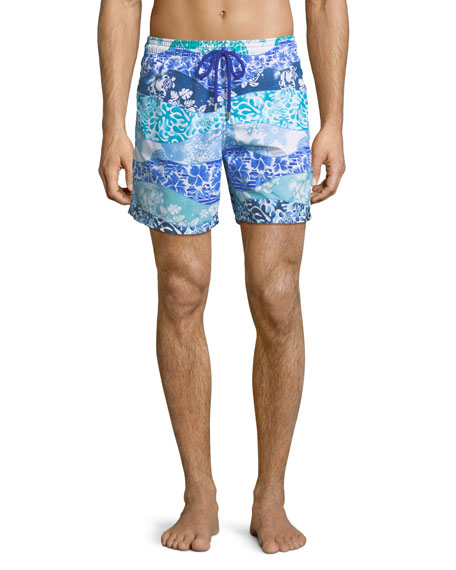 Vilebrequin Men's Moorea Vagues Heritage Swim Trunks