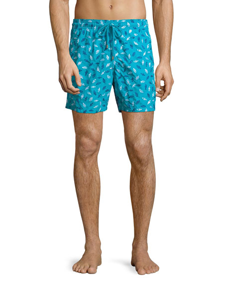 Vilebrequin Men's Mistral Mini Fishes Broderie Swim Trunks