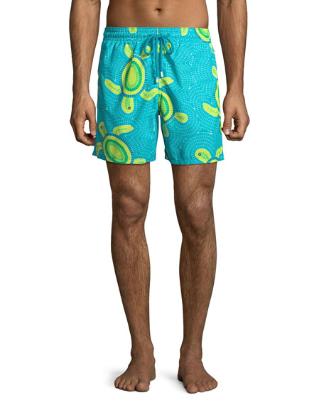Vilebrequin Men's Moorea Mosaic Turtles Swim Trunks