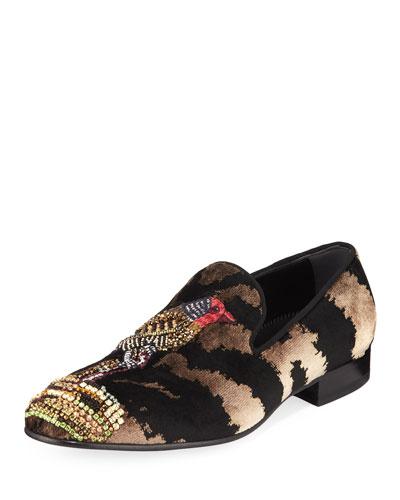 Men's Bird-Embellished Velvet Formal Slippers