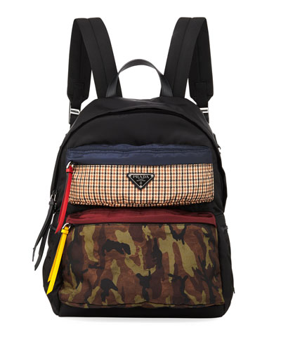 Men's Camo/Plaid Printed Nylon Backpack