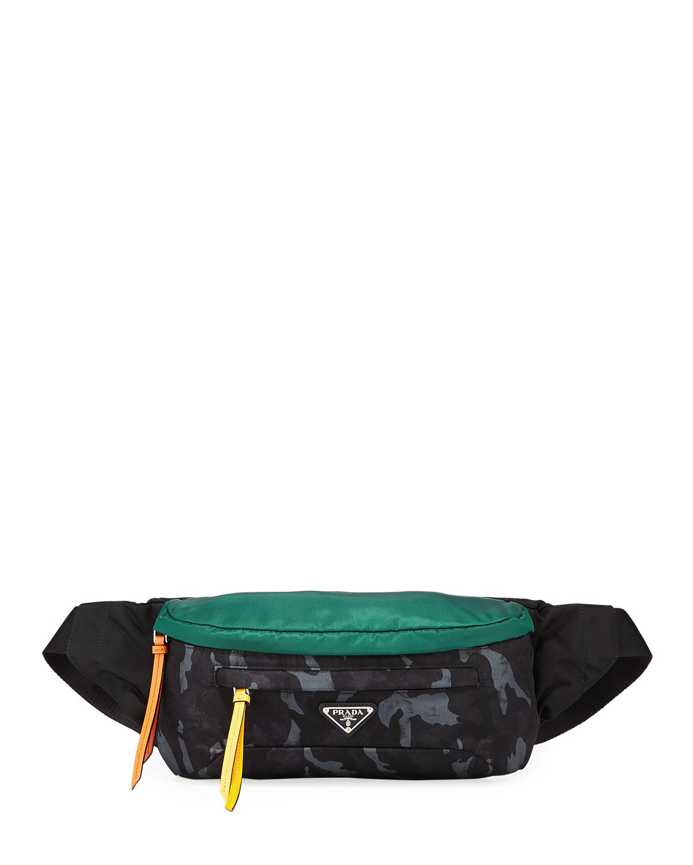 d6152f7d19 Prada Men's Tessuto Stampato Belt Bag/Fanny Pack | Neiman Marcus