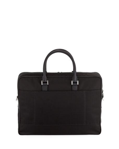 Men's Slim Nylon Briefcase with Leather Trim