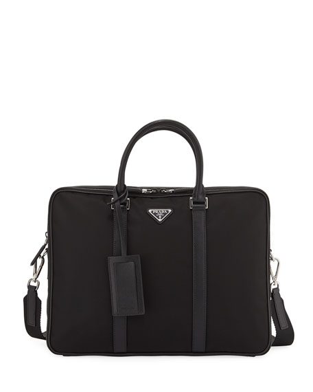 Prada Men's Slim Nylon Briefcase with Leather Trim