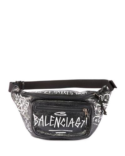 Men's Graffiti-Print Leather Belt Bag