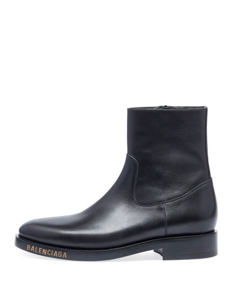 Men's Leather Chelsea Boots with Stamped Logo