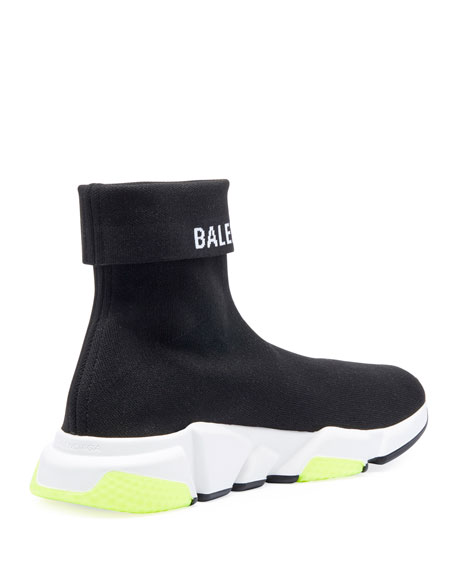 Balenciaga Men'S Speed High-Top Stretch-Knit Sock Sneakers In Black