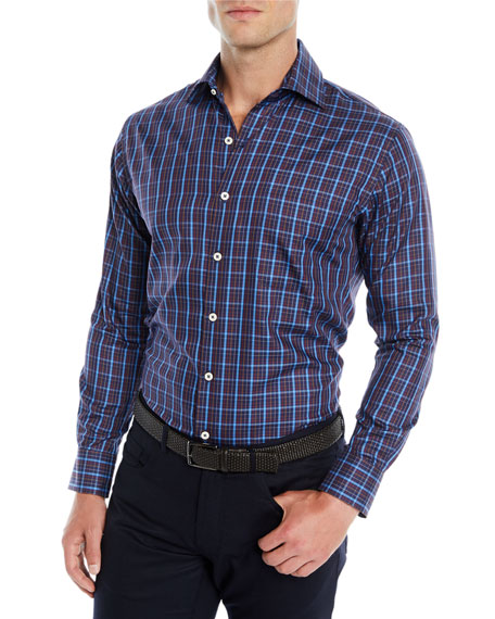 Peter Millar Men's Quarry Falls Plaid Cotton/Silk Sport