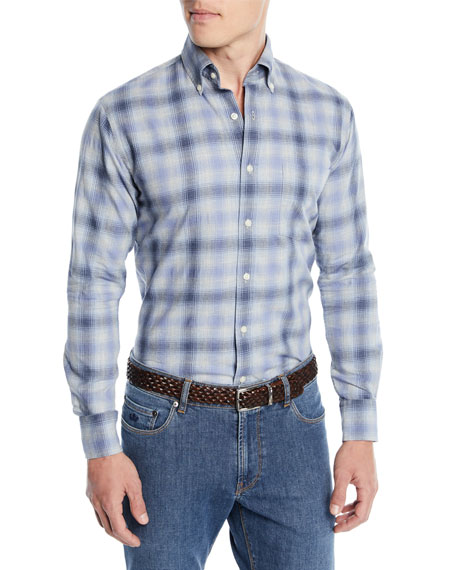 Peter Millar Men's Mountain Fog Plaid Sport Shirt