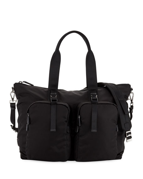 Prada Men's Tessuto Montagna Duffel Bag with Strap