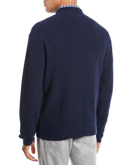 Men's Button-Front Wool-Blend Cardigan
