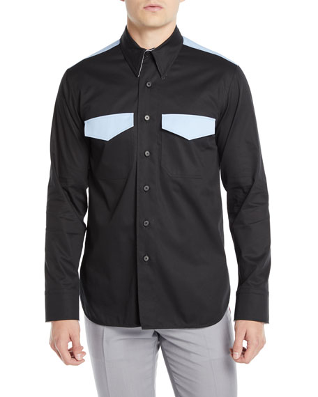 CALVIN KLEIN 205W39NYC Men's Two-Tone Wool Western Shirt