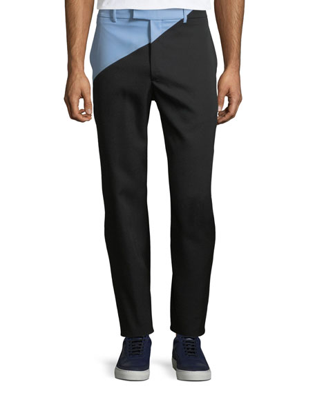 CALVIN KLEIN 205W39NYC Men's Angled Two-Tone Wool Pants