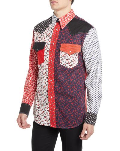 Men's Floral-Pieced Western Shirt
