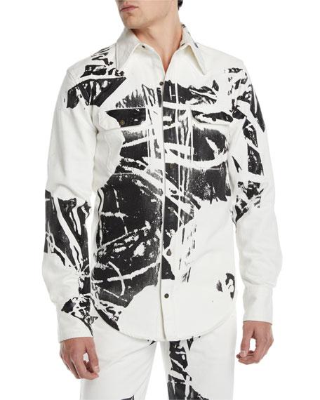 Men's Graphic Denim Sport Shirt