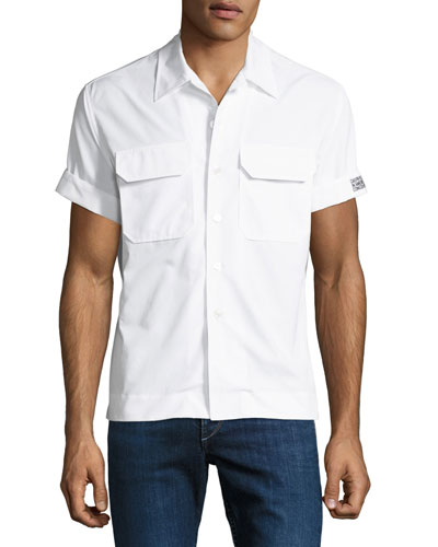 Men's Button-Front Short-Sleeve Cotton Pocket Shirt