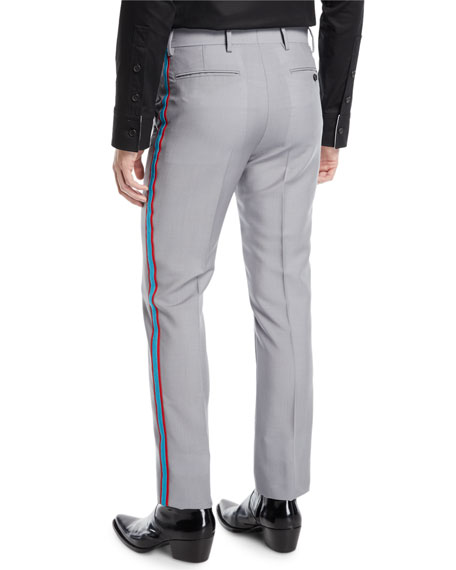 Men's MWPA12 Two-Tone Side-Stripe Mohair/Wool Pants
