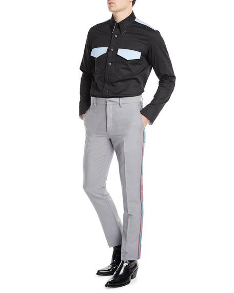 Men's MWPA12 Two-Tone Side-Stripe Mohair/Wool Pants