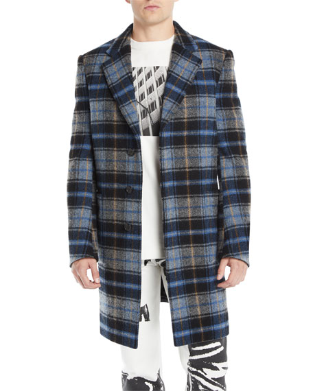 Men's Plaid Wool Coat