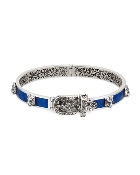 Men's Enamel & Feline Head Bracelet