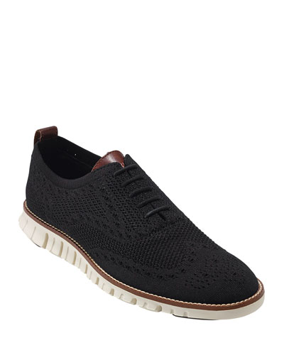 Men's ZeroGrand Knit Wing-Tip Oxford, Black