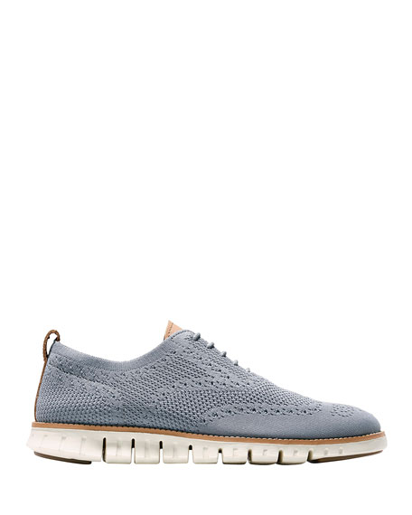 Men's ZeroGrand Knit Wing-Tip Oxford, Gray