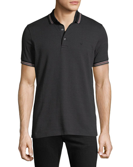 Men's Patterned Micro Jacquard Polo Shirt