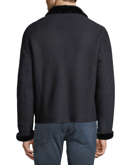 Men's Shearling-Lined Suede Jacket