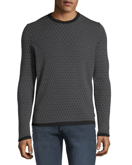 Emporio Armani Men's Geometric Jacquard Wool Sweater