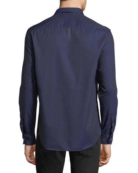 Men's Tonal Geo-Print Woven Sport Shirt