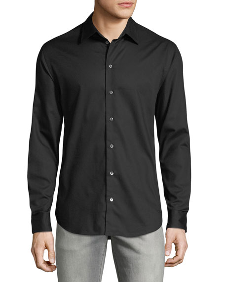 Men's Micro-Woven Casual Button-Down Shirt