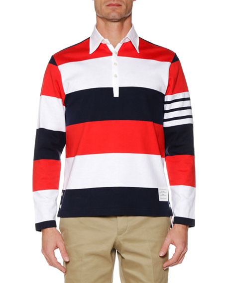 Thom Browne Men's Relaxed-Fit Rugby-Striped Long-Sleeve Polo