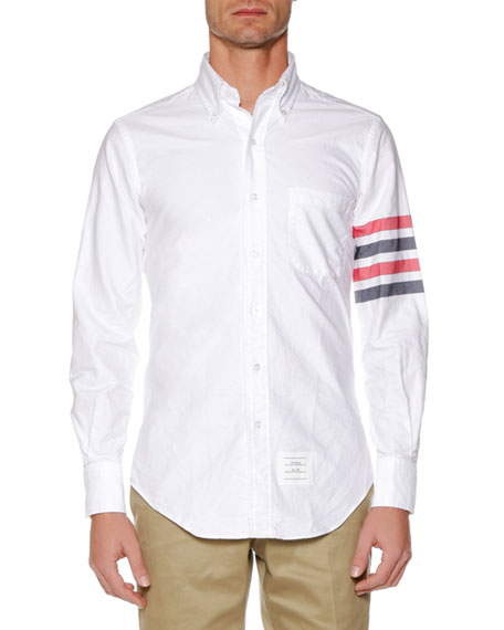 THOM BROWNE Slim-Fit Button-Down Collar Striped Cotton Oxford Shirt, White