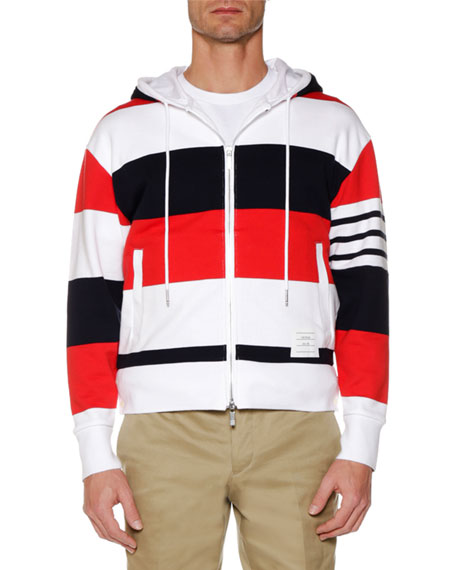 Men's Drop-Shoulder Striped Zip-Up Hoodie