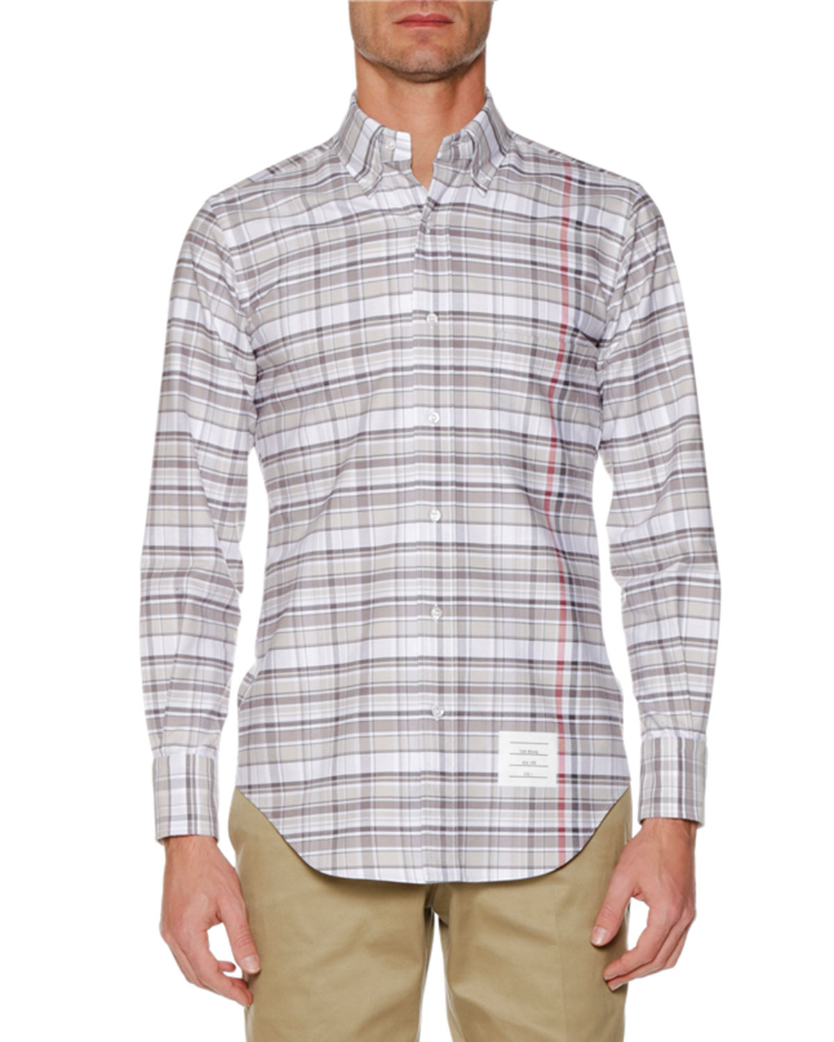 Thom Browne Men S Check Oxford Shirt Neiman Marcus