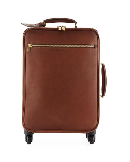 Brunello Cucinelli Men's Leather Wheeled Carryon Suitcase Luggage