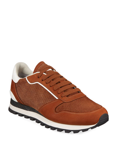 Men's Perforated Suede Trainer Sneakers