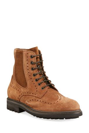 Brunello Cucinelli Men's Brogue-Trim Suede Boots