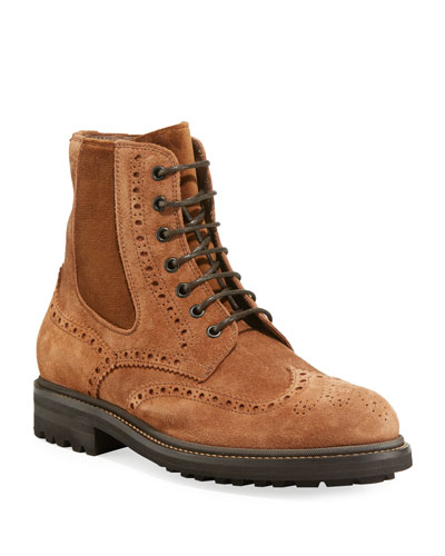 Men's Brogue-Trim Suede Boots