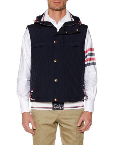 Men's Fold-Out Hood Snap-Front Tech Down Vest
