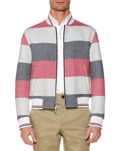 Men's Reversible Wool Bomber Jacket