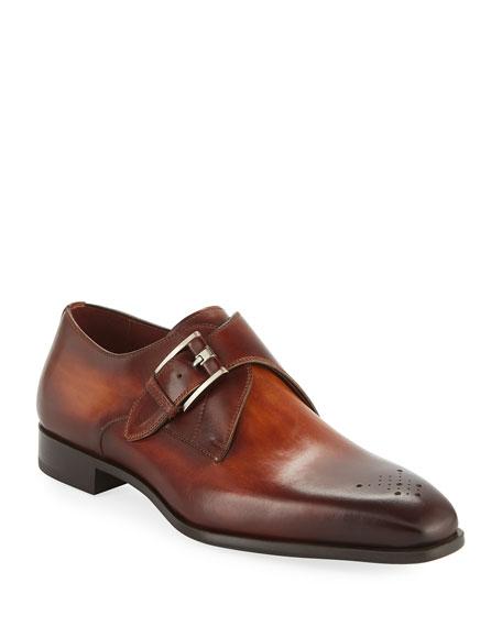 Gentlemen/Ladies Magnanni for Neiman Marcus Men's Single-Monk Leather Shoes    Trend 9767e0