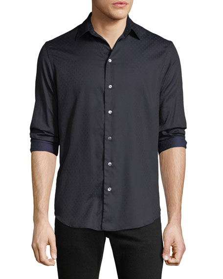 Emporio Armani Men's Cotton Poplin Pin-Dot Sport Shirt